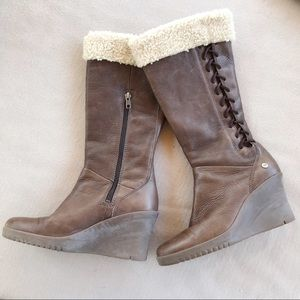 Ugg Australia Leather Wedge Boots W/ Lace Detail